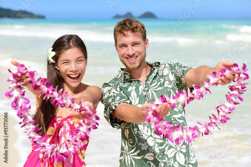 Welcome to Hawaii - Hawaiian people showing lei