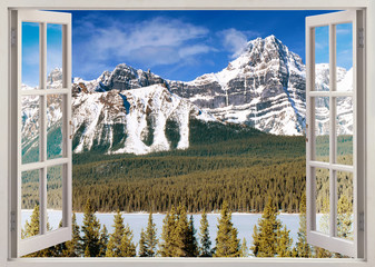 Plakat Open window view to Canadian Rockies Mountains