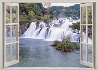 Plakat Open windw view to Krk falls
