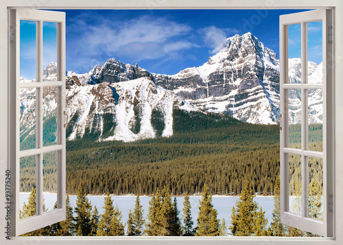 Open window  view to Canadian Rockies Mountains - 93775240