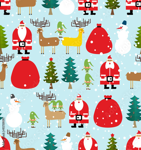 Cotton fabric Winter pattern for Christmas and new year. Seamless background f