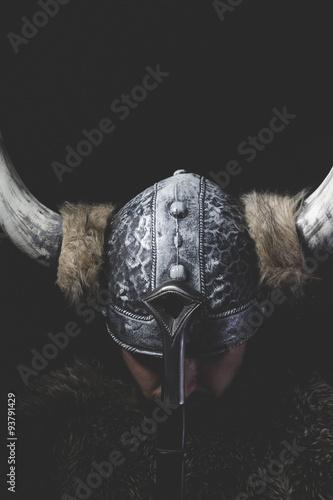 Murderer, Viking warrior with iron sword and helmet with horns Wallpaper Mural