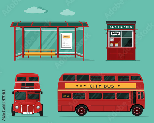 Side view office set Woman Flat Style Concept Of Public Transport Set Of City Bus With Front And Side View Bus Stop Street Bus Ticket Office Isolated Vector Illustration Adobe Stock Flat Style Concept Of Public Transport Set Of City Bus With Front