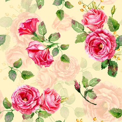 Fototapeta Róże Seamless pattern of vector watercolor red roses.