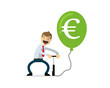 Vector of businessman pumping money balloon, euro