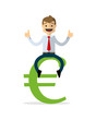 Vector of businessman sit on money sign, euro