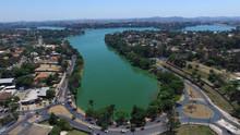 Aerial View Of Lagoa Da Pampulha, In The City Of Belo Horizonte, Capital Of Minas Gerais, Brazil