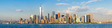 Fototapeta New York - High resolution panoramic view of the downtown New York City skyline seen from the ocean