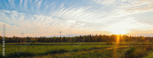Aluminium Prints Autumn Panorama of PEI rural scene at fall with windmills on the backgr