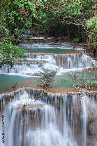 Wall Murals Waterfalls Beautiful cascade of Huay mae khamin waterfall