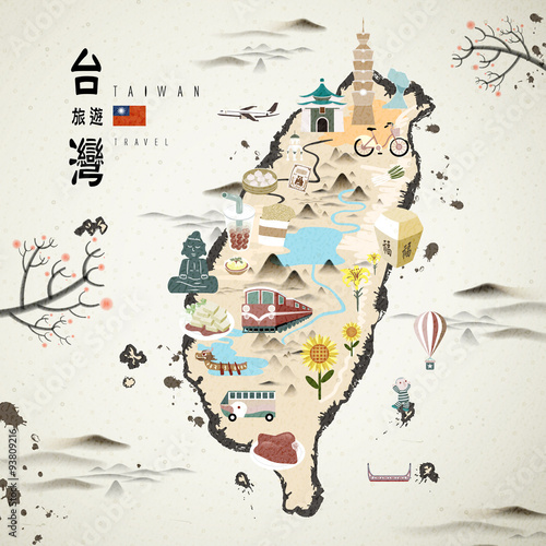 Canvas Print Taiwan travel map