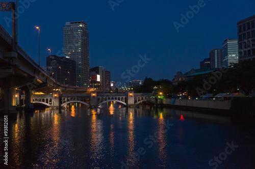 Foto op Aluminium New York Office buildings and Tosabori river at night, Osaka.