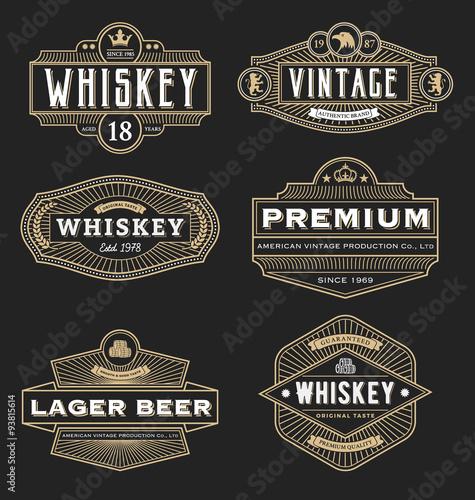 Vintage frame design for labels banner logo emblem menu sticker and