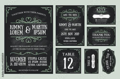 vintage wedding invitation chalkboard design sets include invitation