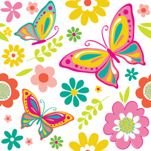 Spring Pattern With Cute Butte...