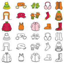 Set Of Winter Clothing Icons. Vector Doodle Illustration.