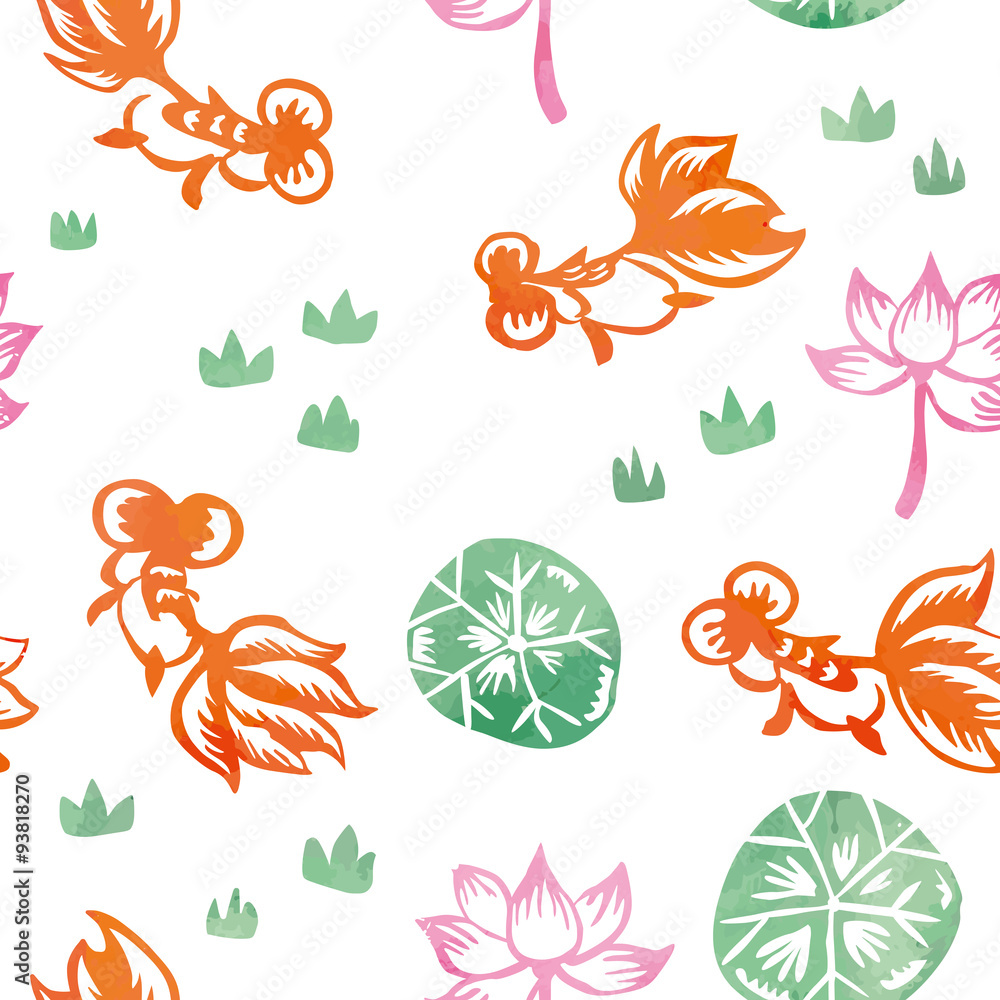 Chinese Watercolor Painting Goldfish Seamless Pattern