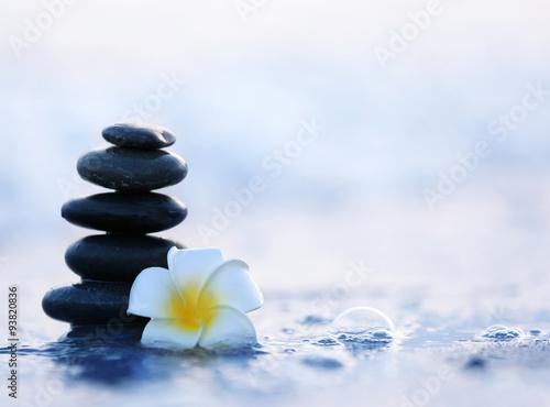 La pose en embrasure Zen pierres a sable Spa stones with flower on sea beach outdoors