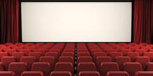 Cinema Screen With Open Curtai...