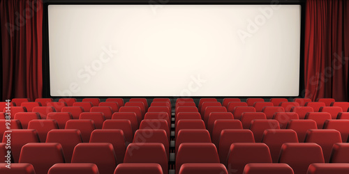 Photo  Cinema screen with open curtain. 3d.