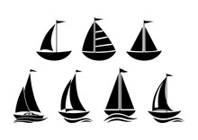 Sailboat Icons On White Backgr...