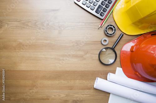 Fotografie, Obraz  engineer desk background ,project ideas concept