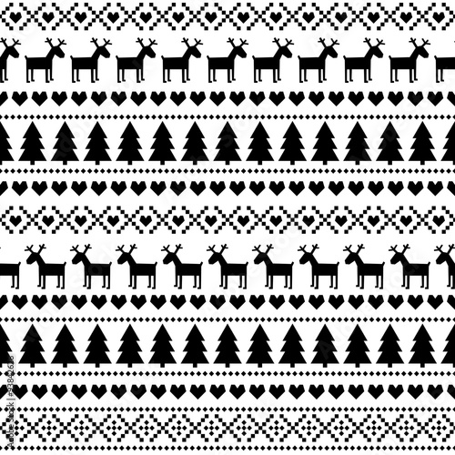 black and white seamless christmas pattern card scandinavian sweater style cute christmas background
