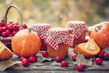 Pumpkin Jam, Puree Or Sauce And Hawthorn Berries. Autumn Still L