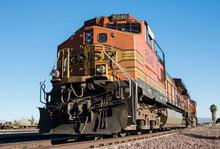 Diesel Locomotive In The Southwest Desert