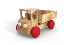 Wooden Retro Toy Car Isolated 3d Model