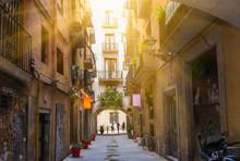 Old Street In Barcelona. Spain