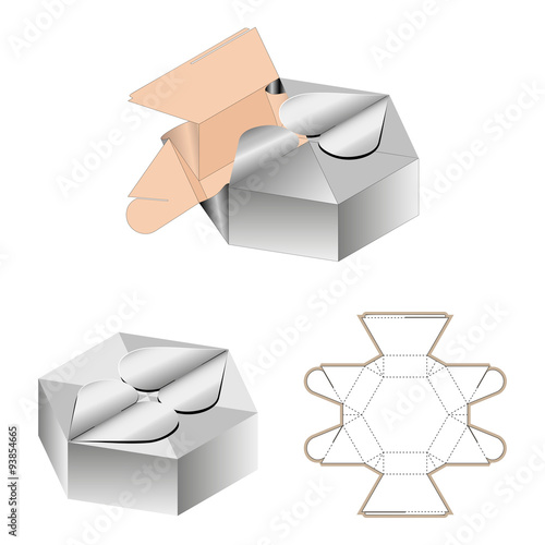 Gift Box Packaging Template White Cardboard Heart Shaped Opening Carry Bag Isolated On Background Stamping Ready For Your Design