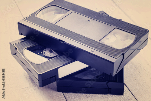 The old video tapes. Tinted photos Canvas-taulu