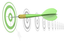 Green Marketing Concept. Dart Arrow Hitting Center Of Green Target. Horizontal Row Of Gray Targets.