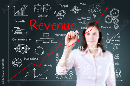 Fotografía  Young business woman writing increased revenue graph with process of vision - teamwork - plan - investment - management - research - development - strategy -marketing