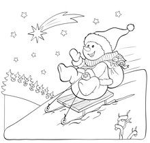 Coloring Book Or Page. Snowman On The Sled With Gifts.