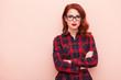 Leinwanddruck Bild - young caucasian girl in glasses