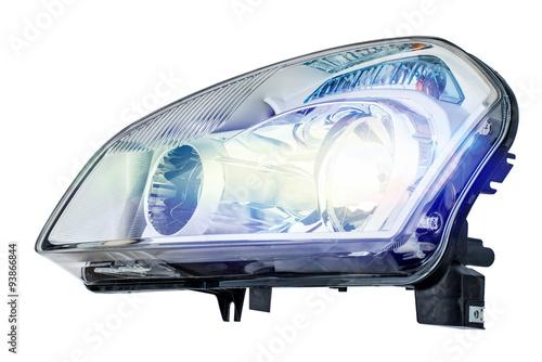Obraz Car headlight on a white background - fototapety do salonu