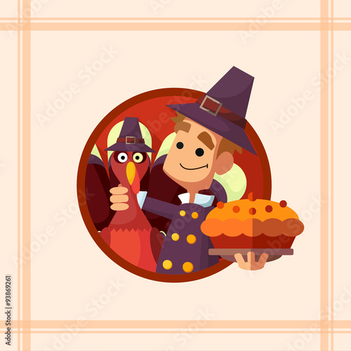 Foto op Canvas Cars Card with cartoon pilgrim for Thanksgiving