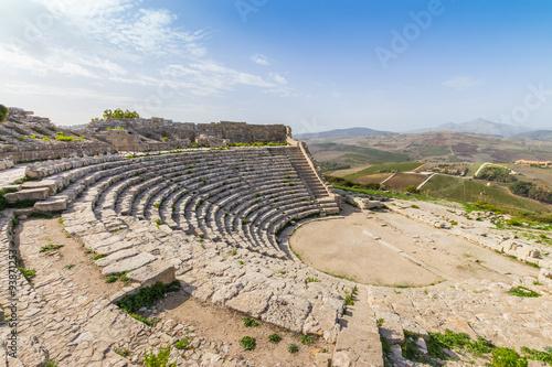 Fotografie, Obraz  Segesta Temple Amphitheatre Sicily Italy
