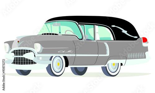 Fotografie, Obraz  Caricatura Cadillac fúnebre 1955 gris vista frontal y lateral