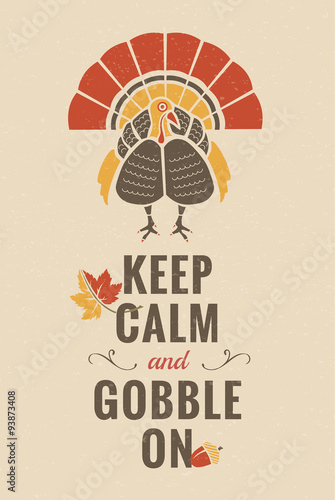 Fényképezés  Thanksgiving Fall autumn decorative elements with seasonal typographic message a