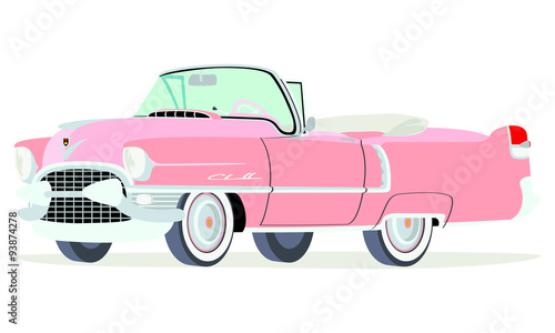 Photo Caricatura Cadillac convertible abierto 1955 rosado vista frontal y lateral