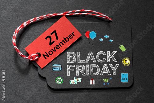 Poster  Black Friday November 27 text on a black tag