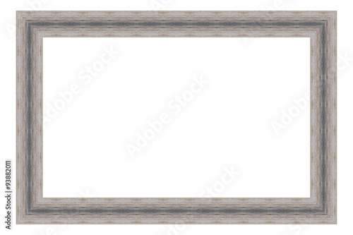 Grey wooden frame isolated on white background. Contemporary picture ...