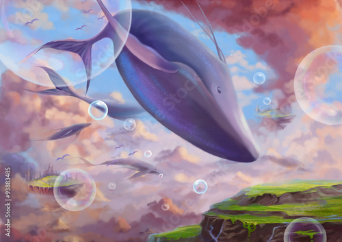 Fotografiet  Illustration: The Flying Great While Whale