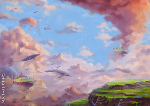 Illustration: A Fantastic Wonderland with flying Lands and Whales. Fantastic Cartoon Style Wallpaper Background Scene Design with Story.