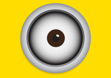 Eye On Yellow Background. Vect...