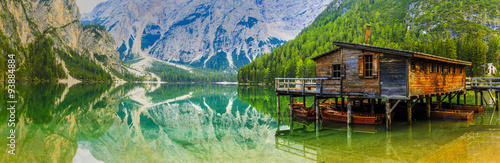 Fotobehang Meer / Vijver Braies Lake in Dolomites mountains, Sudtirol, Italy (Lago di Braies)