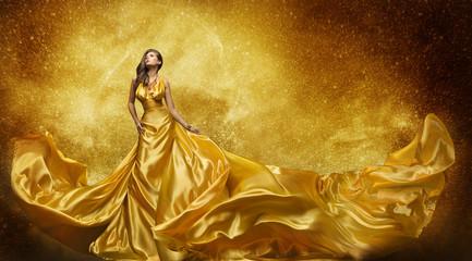 Gold Fashion Model Dress, Woman Golden Silk Gown Flowing Fabric
